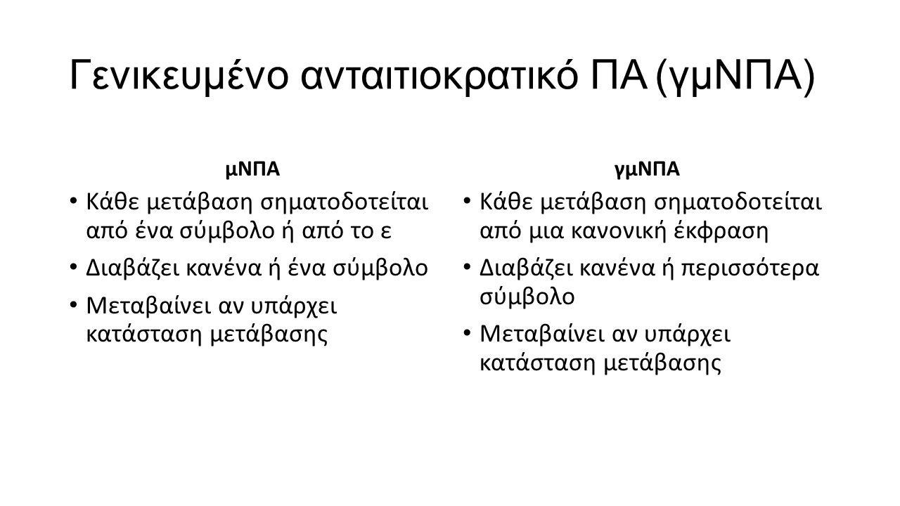 Γενικευμένο ανταιτιοκρατικό ΠΑ (γμΝΠΑ) μΝΠΑ Κάθε μετάβαση σηματοδοτείται από ένα σύμβολο ή από το ε Διαβάζει κανένα ή ένα σύμβολο Μεταβαίνει αν υπάρχε