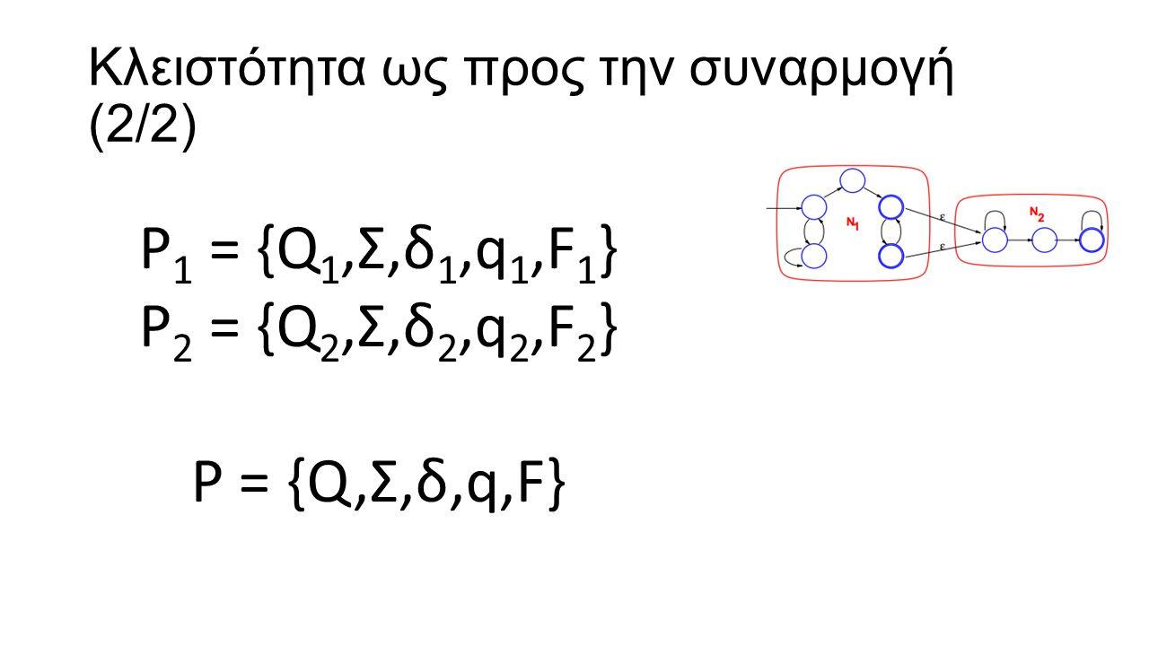 Κλειστότητα ως προς την συναρμογή (2/2) P 1 = {Q 1,Σ,δ 1,q 1,F 1 } P 2 = {Q 2,Σ,δ 2,q 2,F 2 } P = {Q,Σ,δ,q,F}