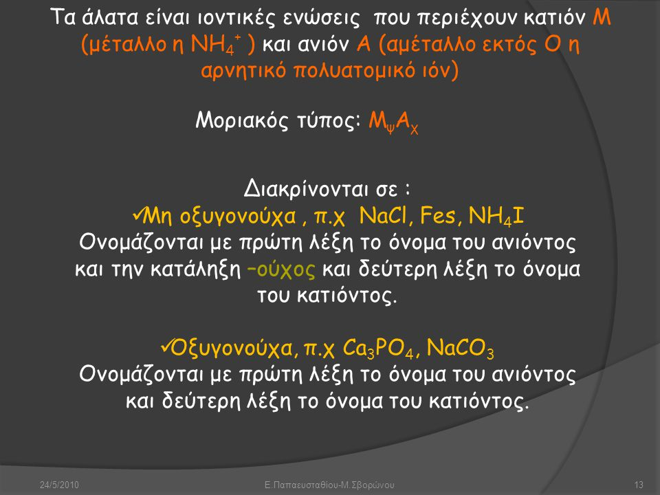 24/5/2010Ε.Παπαευσταθίου-Μ.Σβορώνου13 Τα άλατα είναι ιοντικές ενώσεις που περιέχουν κατιόν Μ (μέταλλο η ΝΗ 4 + ) και ανιόν Α (αμέταλλο εκτός Ο η αρνητ