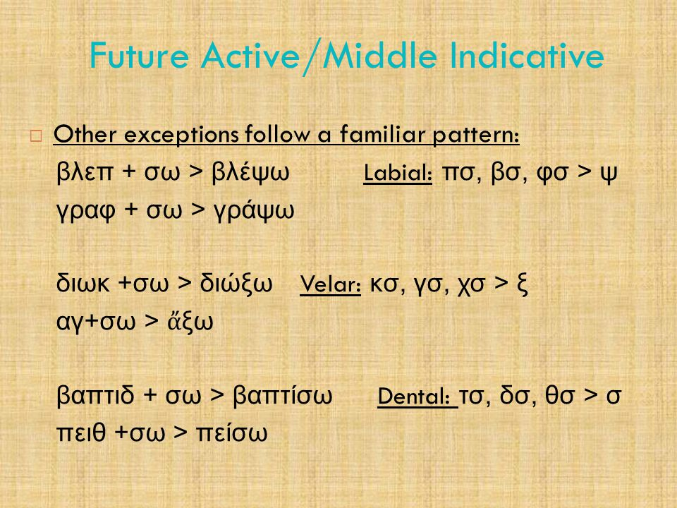 Future Active/Middle Indicative 5.1 Future Middle Indicative  Middle voice is different from active and passive in the future.