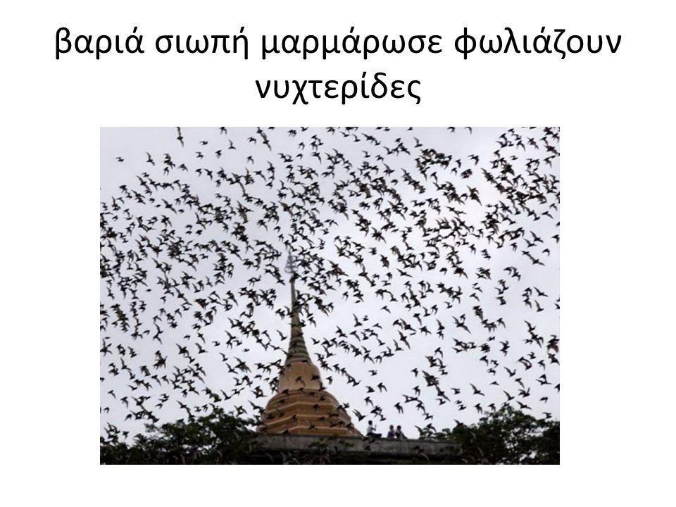 βαριά σιωπή μαρμάρωσε φωλιάζουν νυχτερίδες
