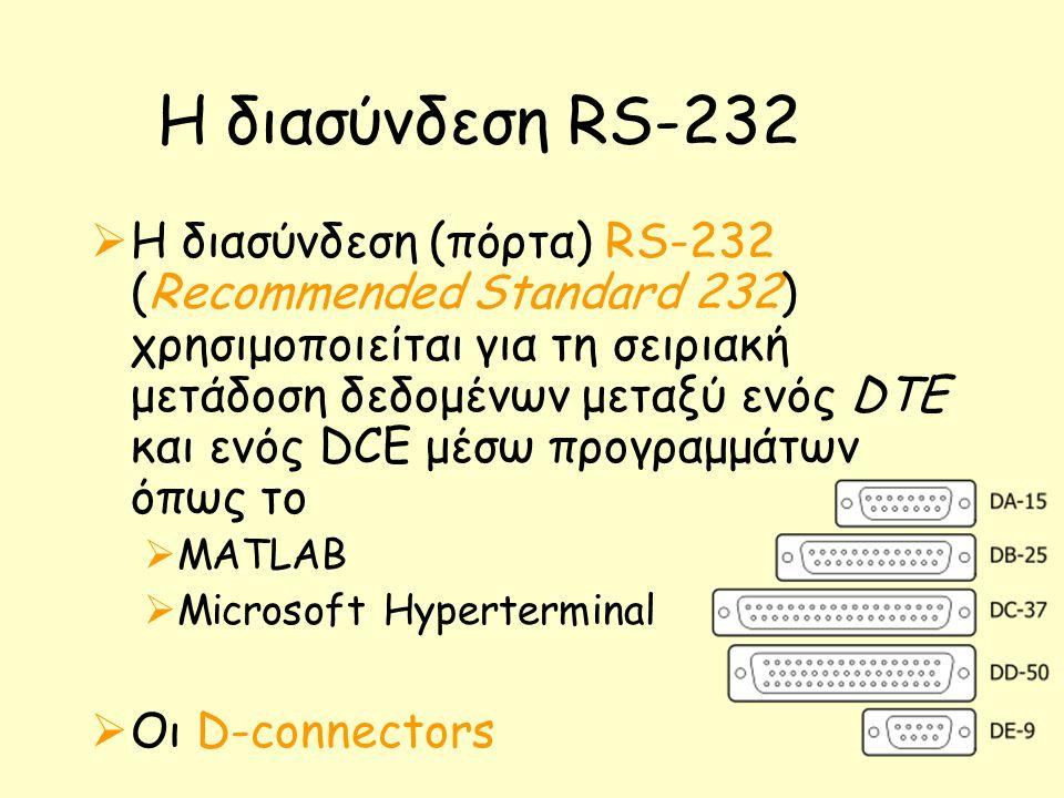 Η διασύνδεση RS-232  H διασύνδεση (πόρτα) RS-232 (Recommended Standard 232) χρησιμοποιείται για τη σειριακή μετάδοση δεδομένων μεταξύ ενός DTE και ενός DCE μέσω προγραμμάτων όπως το  MATLAB  Microsoft Hyperterminal  Οι D-connectors
