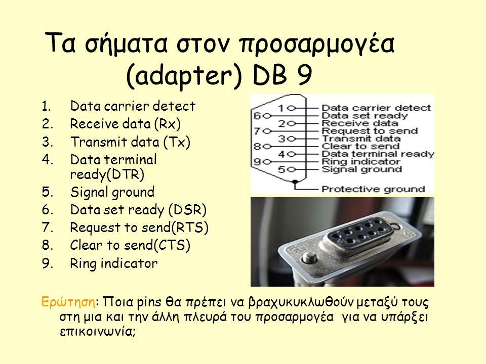 Τα σήματα στον προσαρμογέα (adapter) DB 9 1.Data carrier detect 2.Receive data (Rx) 3.Transmit data (Tx) 4.Data terminal ready(DTR) 5.Signal ground 6.Data set ready (DSR) 7.Request to send(RTS) 8.Clear to send(CTS) 9.Ring indicator Ερώτηση: Ποια pins θα πρέπει να βραχυκυκλωθούν μεταξύ τους στη μια και την άλλη πλευρά του προσαρμογέα για να υπάρξει επικοινωνία;