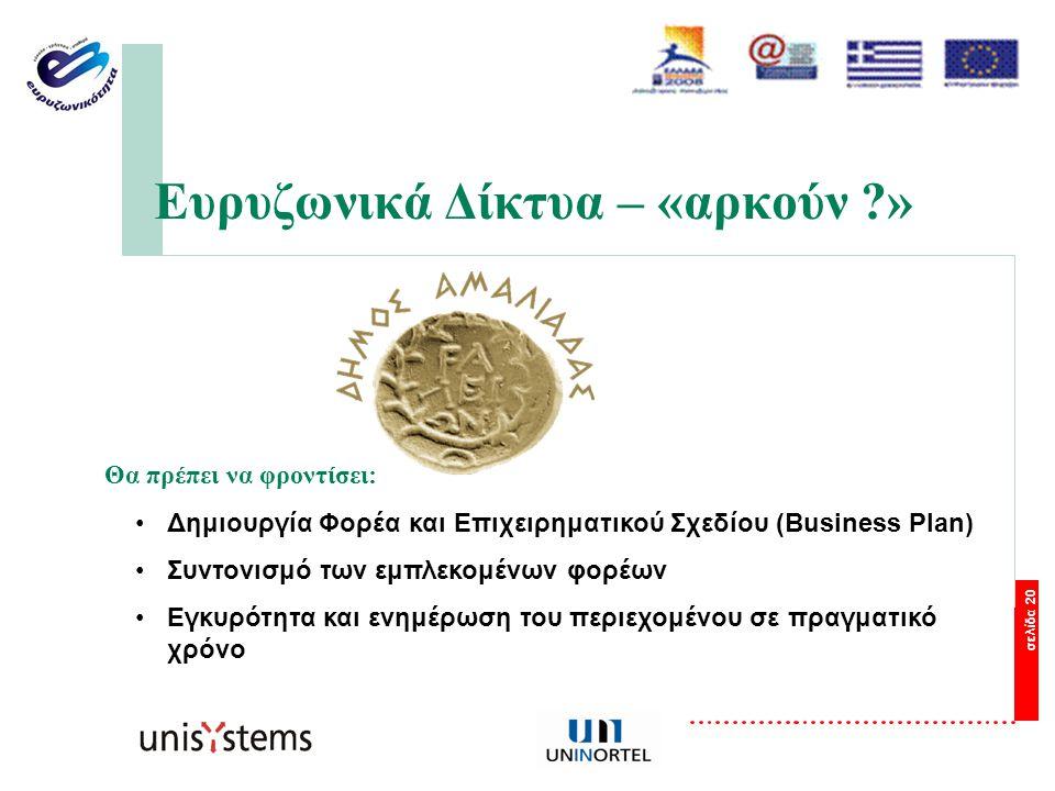σελίδα 20 Ευρυζωνικά Δίκτυα – «αρκούν » Θα πρέπει να φροντίσει: Δημιουργία Φορέα και Επιχειρηματικού Σχεδίου (Business Plan) Συντονισμό των εμπλεκομένων φορέων Εγκυρότητα και ενημέρωση του περιεχομένου σε πραγματικό χρόνο