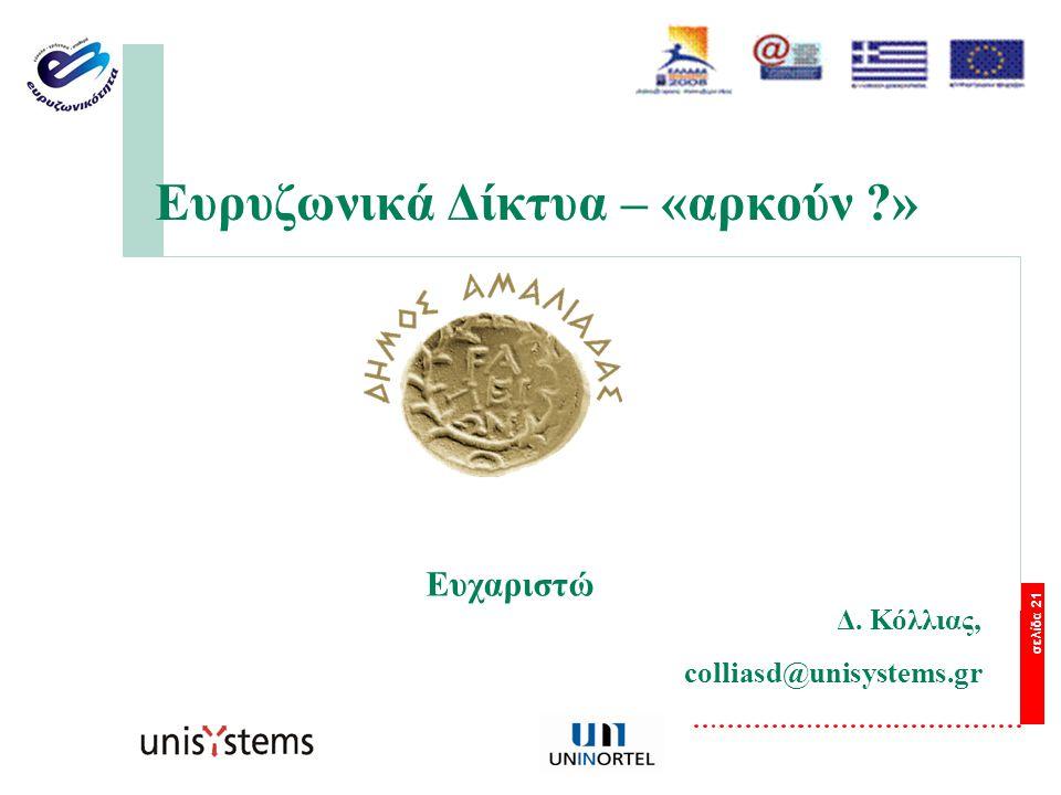 σελίδα 21 Ευρυζωνικά Δίκτυα – «αρκούν » Ευχαριστώ Δ. Κόλλιας, colliasd@unisystems.gr