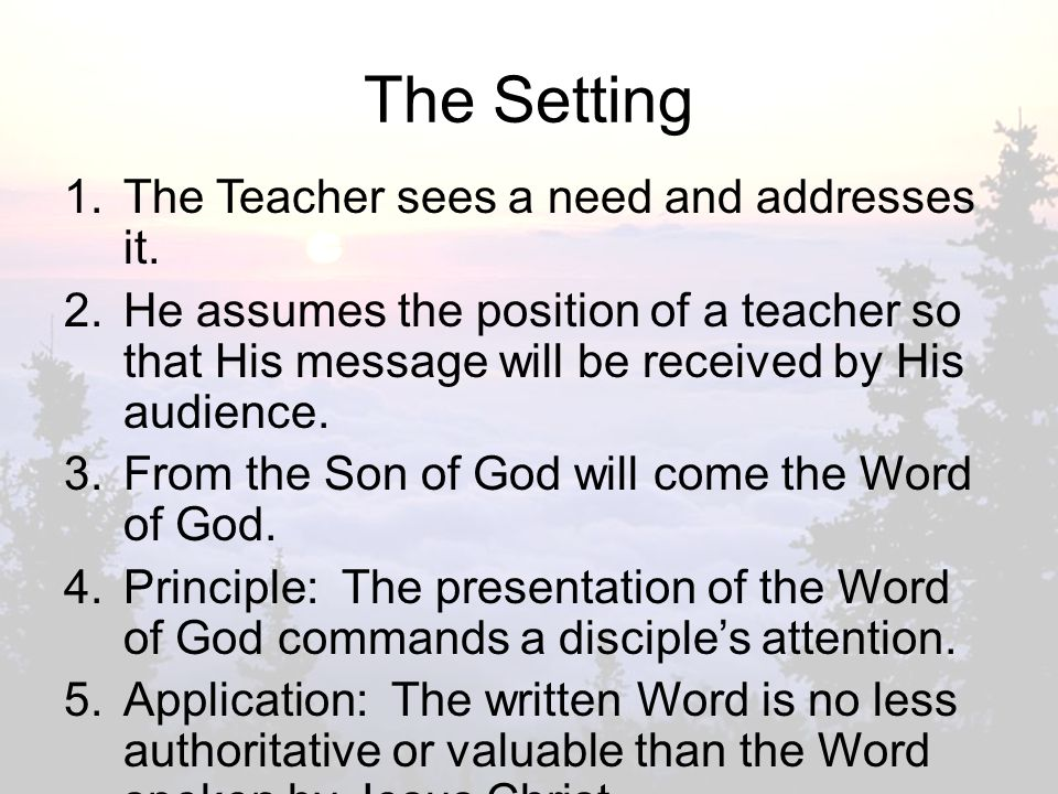The Setting 1.The Teacher sees a need and addresses it.