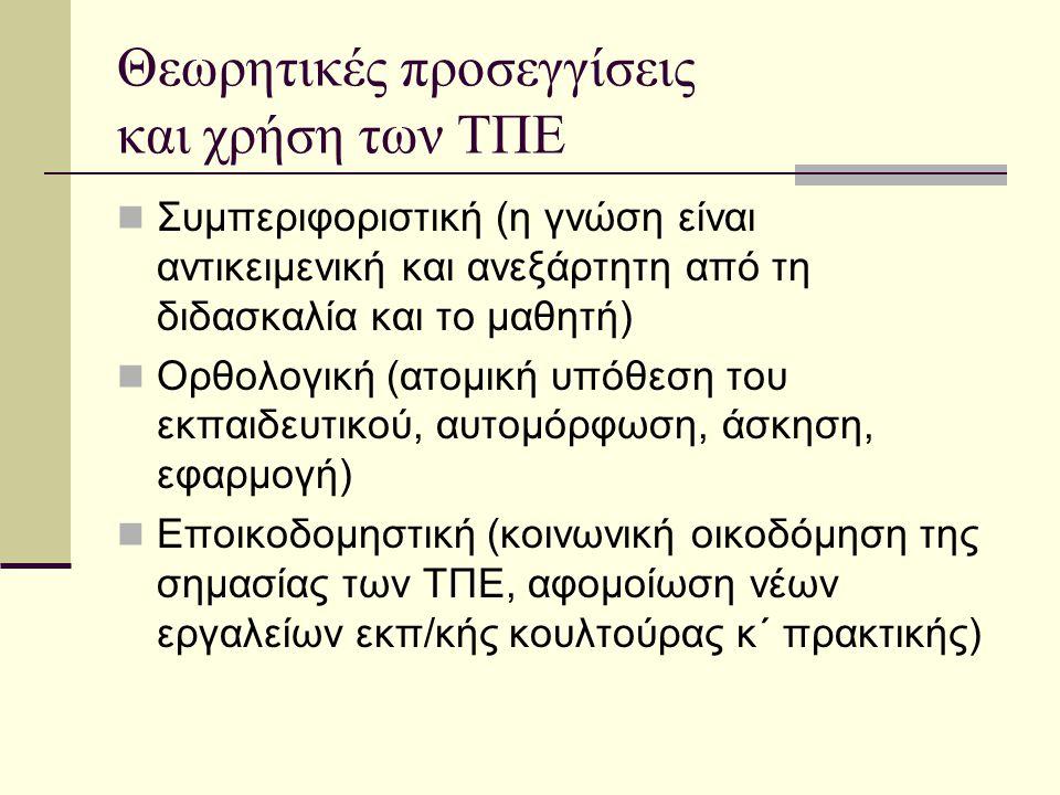 Θεωρητικές προσεγγίσεις και χρήση των ΤΠΕ Συμπεριφοριστική (η γνώση είναι αντικειμενική και ανεξάρτητη από τη διδασκαλία και το μαθητή) Ορθολογική (ατομική υπόθεση του εκπαιδευτικού, αυτομόρφωση, άσκηση, εφαρμογή) Εποικοδομηστική (κοινωνική οικοδόμηση της σημασίας των ΤΠΕ, αφομοίωση νέων εργαλείων εκπ/κής κουλτούρας κ΄ πρακτικής)