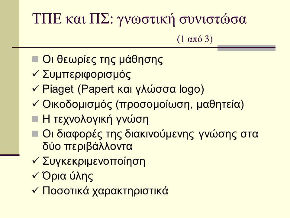 ΤΠΕ και ΠΣ: γνωστική συνιστώσα (1 από 3) Οι θεωρίες της μάθησης Συμπεριφορισμός Piaget (Papert και γλώσσα logo) Οικοδομισμός (προσομοίωση, μαθητεία) Η τεχνολογική γνώση Οι διαφορές της διακινούμενης γνώσης στα δύο περιβάλλοντα Συγκεκριμενοποίηση Όρια ύλης Ποσοτικά χαρακτηριστικά