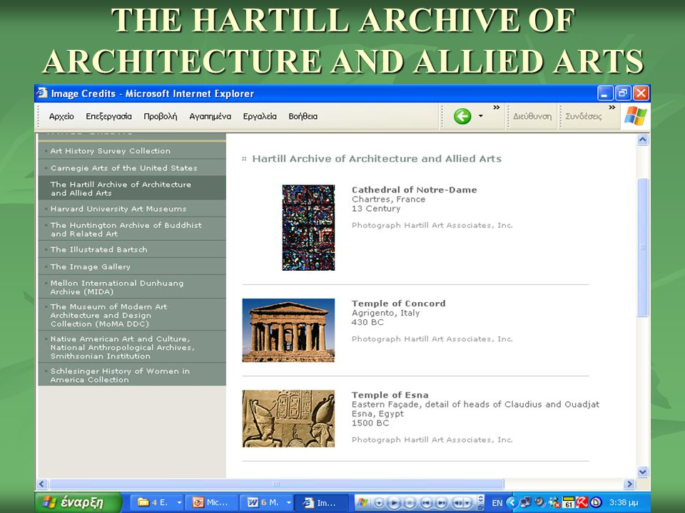THE HARTILL ARCHIVE OF ARCHITECTURE AND ALLIED ARTS