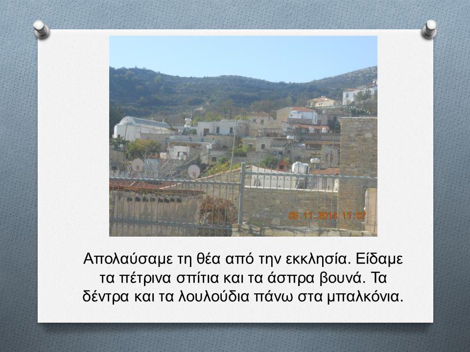 Απολαύσαμε τη θέα από την εκκλησία. Είδαμε τα πέτρινα σπίτια και τα άσπρα βουνά. Τα δέντρα και τα λουλούδια πάνω στα μπαλκόνια.