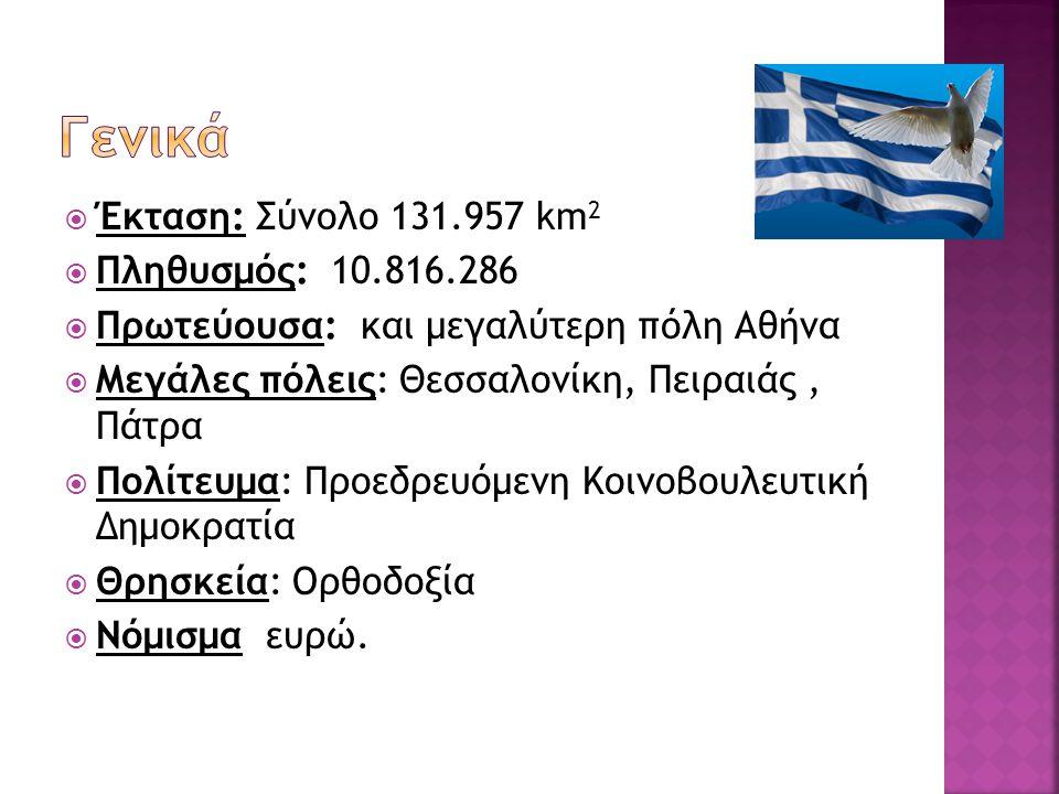  Έκταση: Σύνολο 131.957 km 2  Πληθυσμός: 10.816.286  Πρωτεύουσα: και μεγαλύτερη πόλη Αθήνα  Μεγάλες πόλεις: Θεσσαλονίκη, Πειραιάς, Πάτρα  Πολίτευ