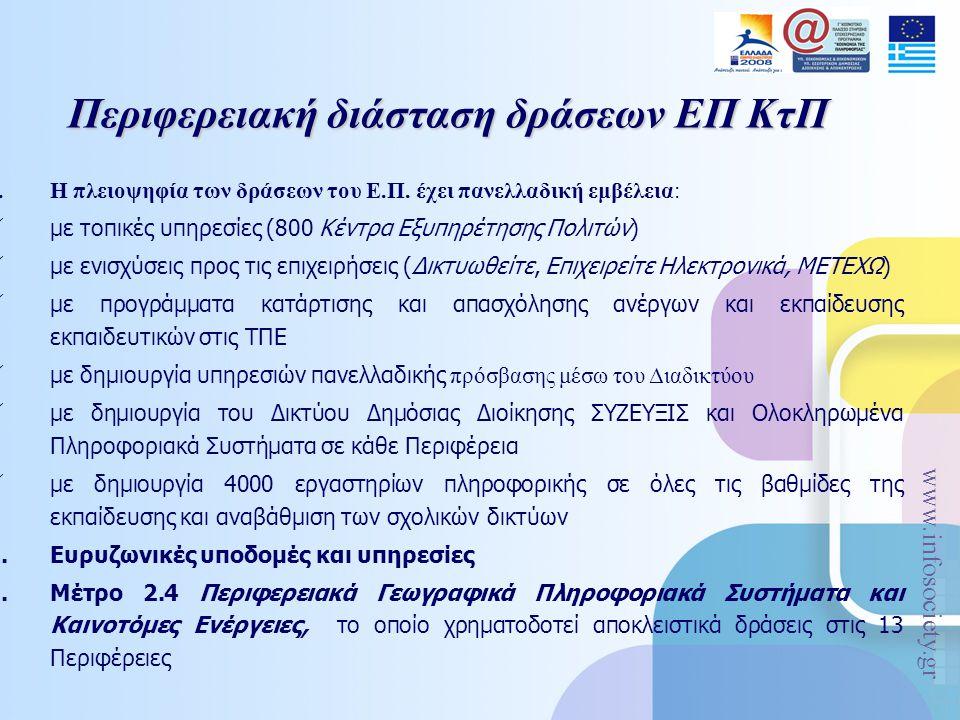 www.infosociety.gr Περιφερειακή διάσταση δράσεων ΕΠ ΚτΠ 1.