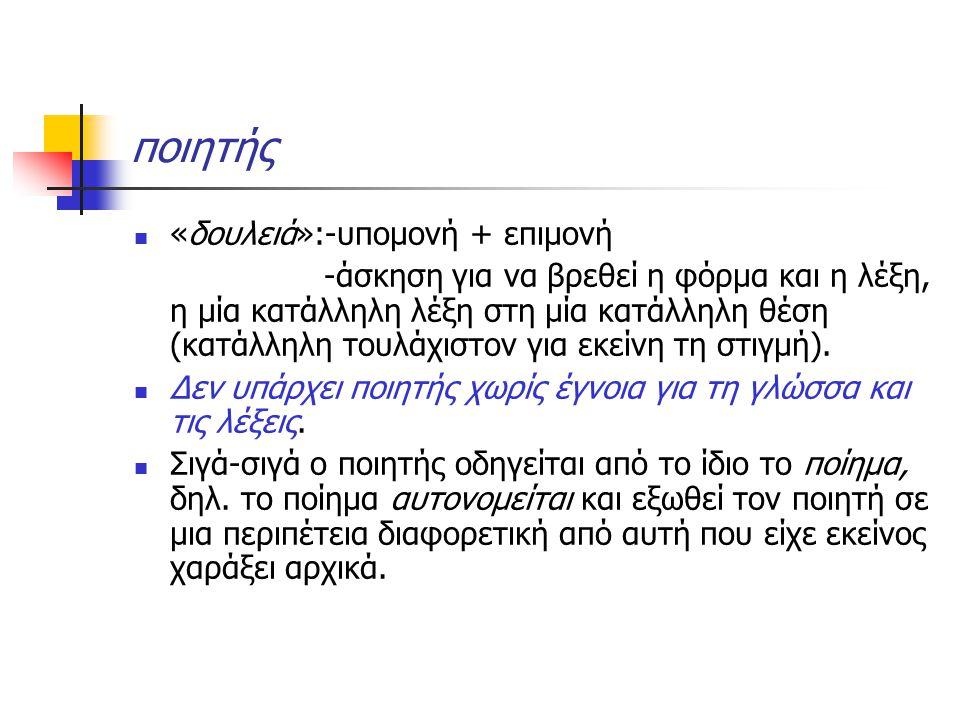 ποιητής «δουλειά»:-υπομονή + επιμονή -άσκηση για να βρεθεί η φόρμα και η λέξη, η μία κατάλληλη λέξη στη μία κατάλληλη θέση (κατάλληλη τουλάχιστον για