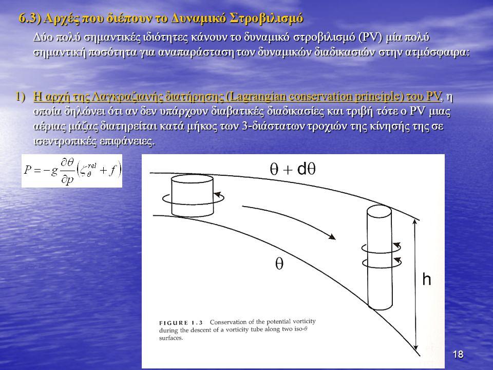 18 Δύο πολύ σημαντικές ιδιότητες κάνουν το δυναμικό στροβιλισμό (PV) μία πολύ σημαντική ποσότητα για αναπαράσταση των δυναμικών διαδικασιών στην ατμόσ