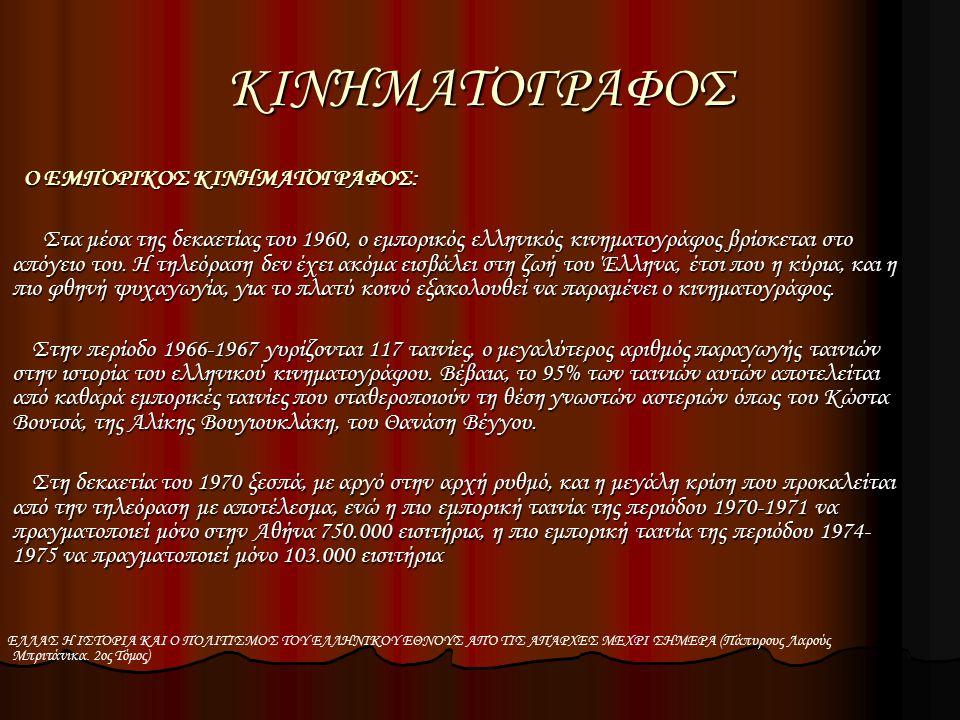ΚΙΝΗΜΑΤΟΓΡΑΦΟΣ Ο ΕΜΠΟΡΙΚΟΣ ΚΙΝΗΜΑΤΟΓΡΑΦΟΣ: Ο ΕΜΠΟΡΙΚΟΣ ΚΙΝΗΜΑΤΟΓΡΑΦΟΣ: Στα μέσα της δεκαετίας του 1960, ο εμπορικός ελληνικός κινηματογράφος βρίσκεται στο απόγειο του.
