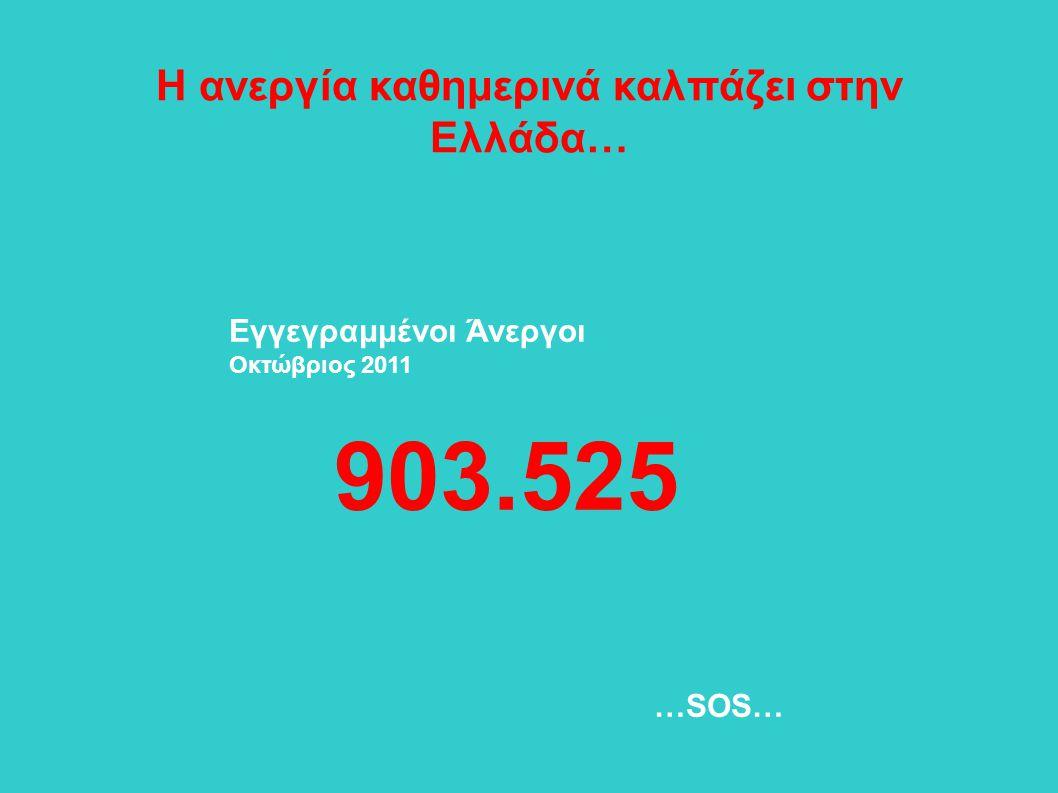 Η ανεργία καθημερινά καλπάζει στην Ελλάδα… Εγγεγραμμένοι Άνεργοι Οκτώβριος 2011 903.525 …SOS…