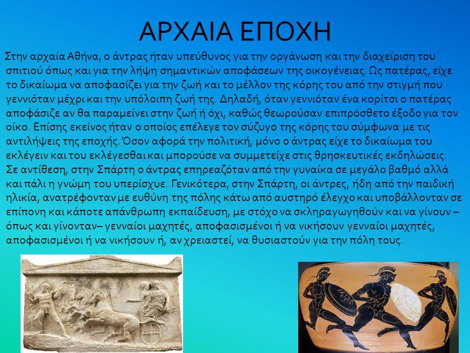 ΑΡΧΑΙΑ ΕΠΟΧΗ Στην αρχαία Αθήνα, ο άντρας ήταν υπεύθυνος για την οργάνωση και την διαχείριση του σπιτιού όπως και για την λήψη σημαντικών αποφάσεων της