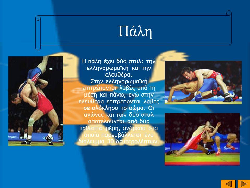 Πάλη Η πάλη έχει δύο στυλ: την ελληνορωμαϊκή και την ελευθέρα. Στην ελληνορωμαϊκή επιτρέπονται λαβές από τη μέση και πάνω, ενώ στην ελευθέρα επιτρέπον