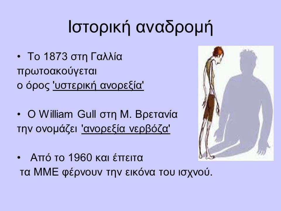 Ιστορική αναδρομή Το 1873 στη Γαλλία πρωτοακούγεται ο όρος υστερική ανορεξία Ο William Gull στη Μ.