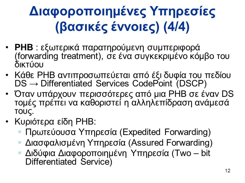 12 Διαφοροποιημένες Υπηρεσίες (βασικές έννοιες) (4/4) PHB : εξωτερικά παρατηρούμενη συμπεριφορά (forwarding treatment), σε ένα συγκεκριμένο κόμβο του δικτύου Κάθε PHB αντιπροσωπεύεται από έξι δυφία του πεδίου DS → Differentiated Services CodePoint (DSCP) Όταν υπάρχουν περισσότερες από μια PHB σε έναν DS τομές πρέπει να καθοριστεί η αλληλεπίδραση ανάμεσά τους.