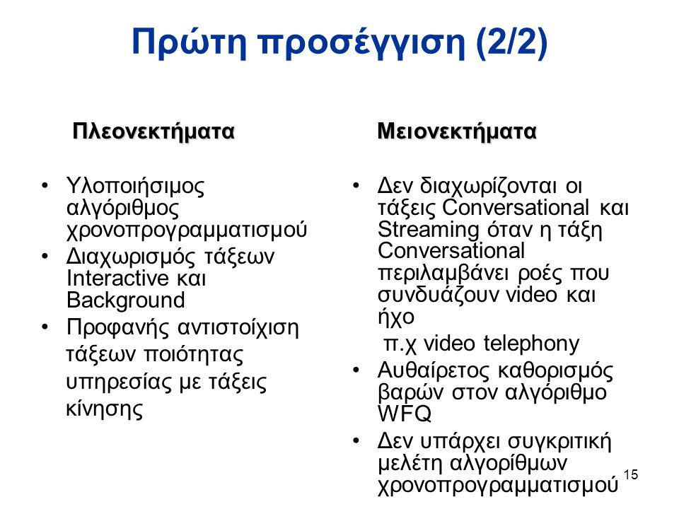 15 Πρώτη προσέγγιση (2/2) Πλεονεκτήματα Πλεονεκτήματα Υλοποιήσιμος αλγόριθμος χρονοπρογραμματισμού Διαχωρισμός τάξεων Interactive και Background Προφανής αντιστοίχιση τάξεων ποιότητας υπηρεσίας με τάξεις κίνησης Μειονεκτήματα Μειονεκτήματα Δεν διαχωρίζονται οι τάξεις Conversational και Streaming όταν η τάξη Conversational περιλαμβάνει ροές που συνδυάζουν video και ήχο π.χ video telephony Αυθαίρετος καθορισμός βαρών στον αλγόριθμο WFQ Δεν υπάρχει συγκριτική μελέτη αλγορίθμων χρονοπρογραμματισμού