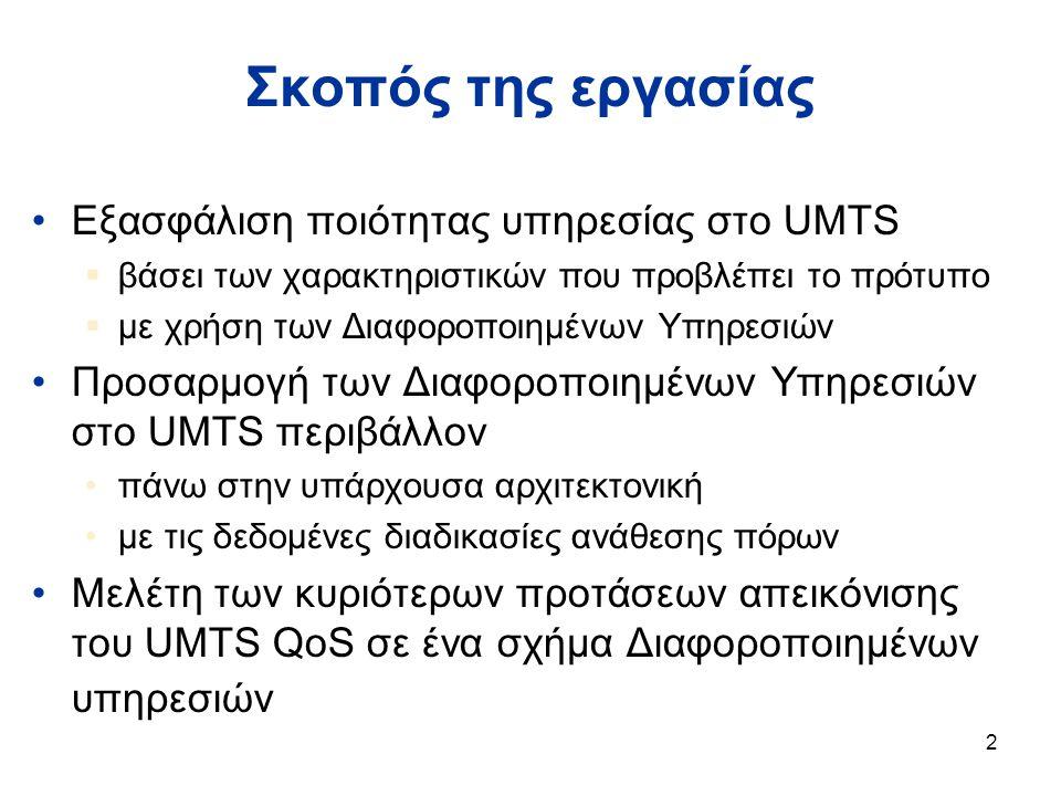 2 Σκοπός της εργασίας Εξασφάλιση ποιότητας υπηρεσίας στο UMTS  βάσει των χαρακτηριστικών που προβλέπει το πρότυπο  με χρήση των Διαφοροποιημένων Υπηρεσιών Προσαρμογή των Διαφοροποιημένων Υπηρεσιών στο UMTS περιβάλλον πάνω στην υπάρχουσα αρχιτεκτονική με τις δεδομένες διαδικασίες ανάθεσης πόρων Μελέτη των κυριότερων προτάσεων απεικόνισης του UMTS QoS σε ένα σχήμα Διαφοροποιημένων υπηρεσιών