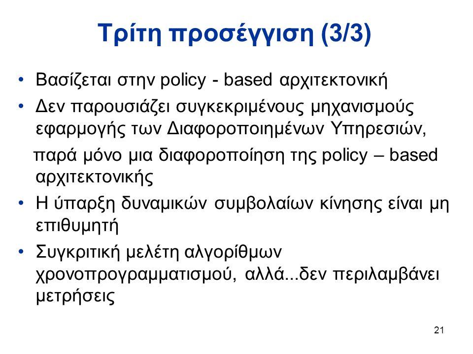 21 Τρίτη προσέγγιση (3/3) Βασίζεται στην policy - based αρχιτεκτονική Δεν παρουσιάζει συγκεκριμένους μηχανισμούς εφαρμογής των Διαφοροποιημένων Υπηρεσιών, παρά μόνο μια διαφοροποίηση της policy – based αρχιτεκτονικής Η ύπαρξη δυναμικών συμβολαίων κίνησης είναι μη επιθυμητή Συγκριτική μελέτη αλγορίθμων χρονοπρογραμματισμού, αλλά...δεν περιλαμβάνει μετρήσεις