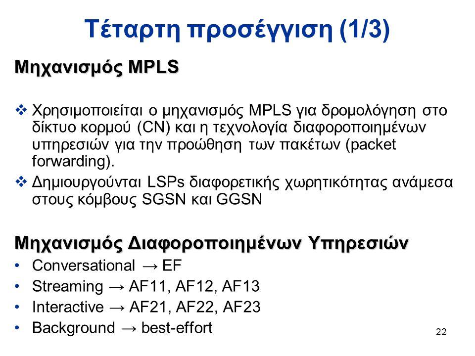 22 Τέταρτη προσέγγιση (1/3) Μηχανισμός MPLS  Χρησιμοποιείται ο μηχανισμός MPLS για δρομολόγηση στο δίκτυο κορμού (CN) και η τεχνολογία διαφοροποιημένων υπηρεσιών για την προώθηση των πακέτων (packet forwarding).