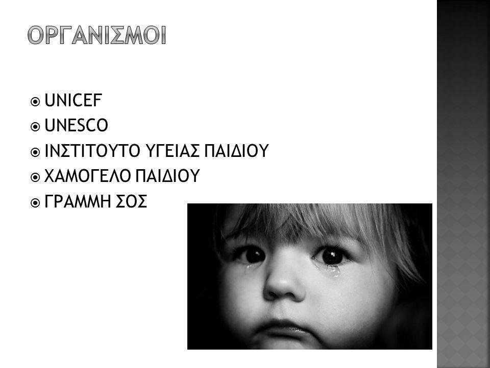  UNICEF  UNESCO  ΙΝΣΤΙΤΟΥΤΟ ΥΓΕΙΑΣ ΠΑΙΔΙΟΥ  ΧΑΜΟΓΕΛΟ ΠΑΙΔΙΟΥ  ΓΡΑΜΜΗ ΣΟΣ