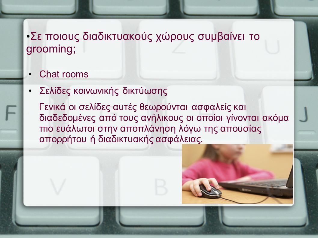 Σε ποιους διαδικτυακούς χώρους συμβαίνει το grooming; Chat rooms Σελίδες κοινωνικής δικτύωσης Γενικά οι σελίδες αυτές θεωρούνται ασφαλείς και διαδεδομ