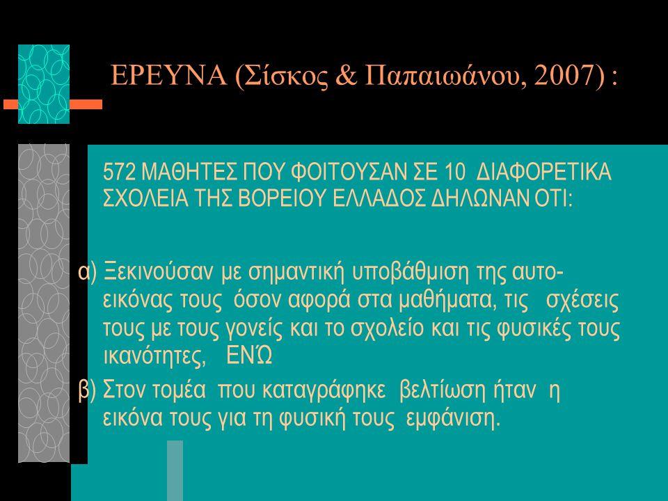 ΕΡΕΥΝΑ (Σίσκος & Παπαιωάνου, 2007) : 572 ΜΑΘΗΤΕΣ ΠΟΥ ΦΟΙΤΟΥΣΑΝ ΣΕ 10 ΔΙΑΦΟΡΕΤΙΚΑ ΣΧΟΛΕΙΑ ΤΗΣ ΒΟΡΕΙΟΥ ΕΛΛΑΔΟΣ ΔΗΛΩΝΑΝ ΟΤΙ: α) Ξεκινούσαν με σημαντική υ