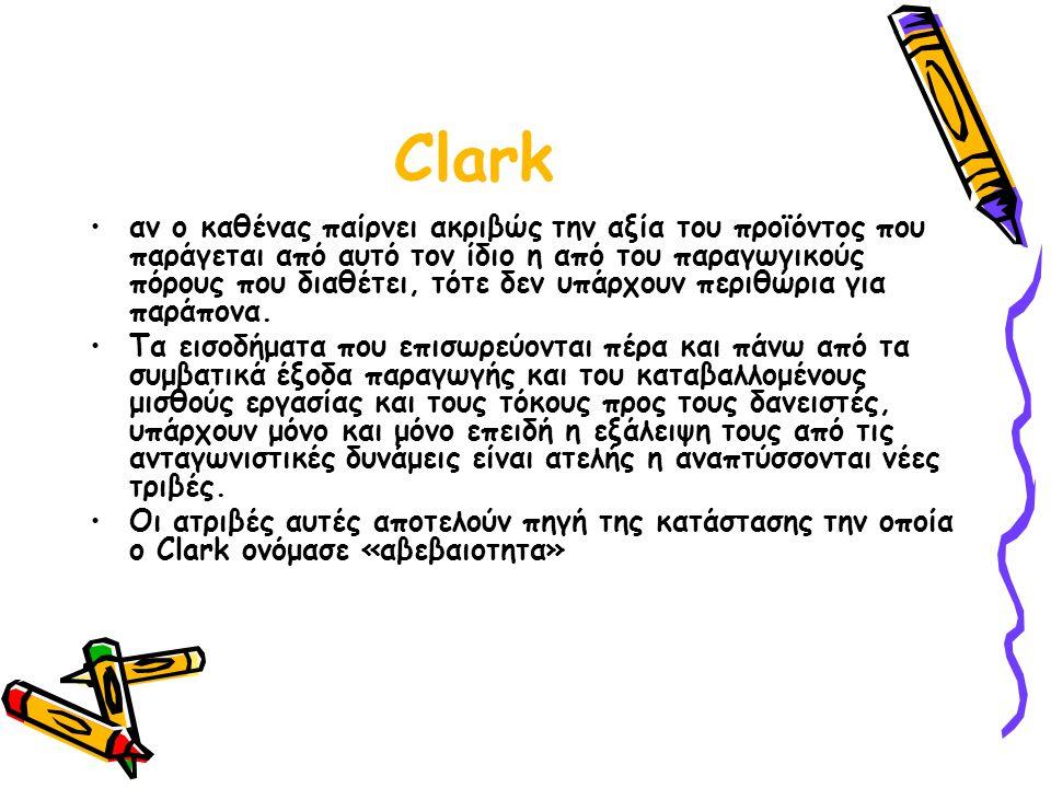Clark αν ο καθένας παίρνει ακριβώς την αξία του προϊόντος που παράγεται από αυτό τον ίδιο η από του παραγωγικούς πόρους που διαθέτει, τότε δεν υπάρχουν περιθώρια για παράπονα.