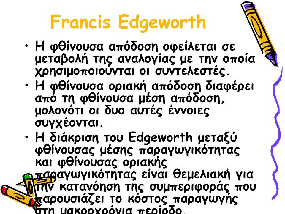 Francis Edgeworth Η φθίνουσα απόδοση οφείλεται σε μεταβολή της αναλογίας με την οποία χρησιμοποιούνται οι συντελεστές.