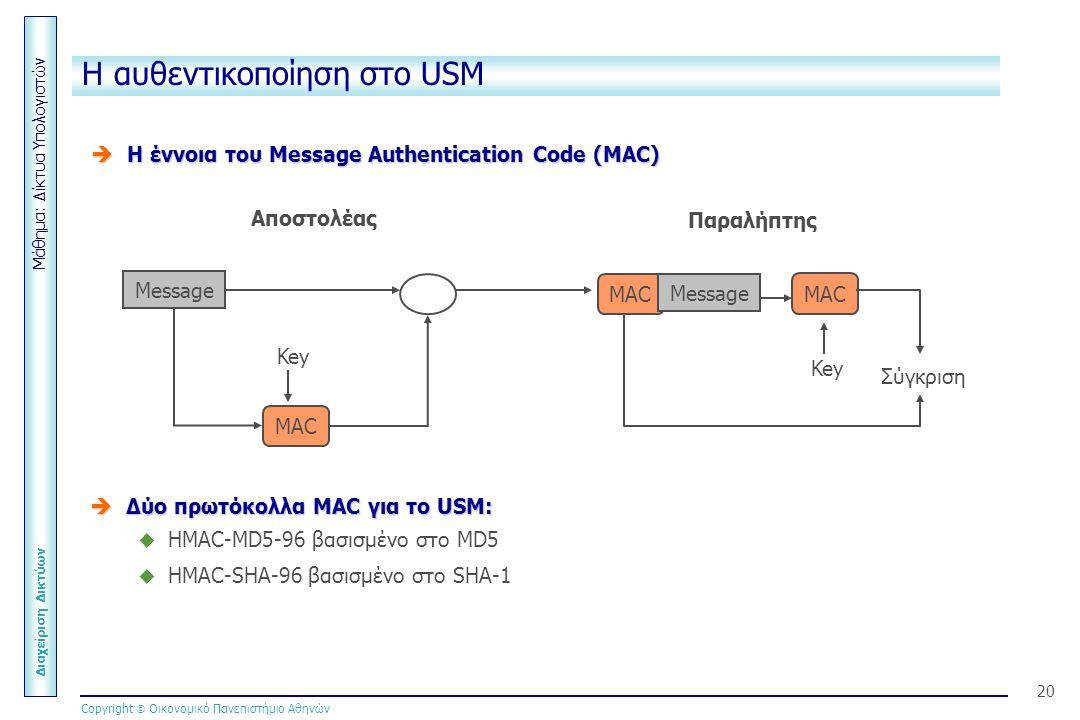 Μάθημα: Δίκτυα Υπολογιστών Διαχείριση Δικτύων Copyright  Οικονομικό Πανεπιστήμιο Αθηνών 20 MAC Η αυθεντικοποίηση στο USM  H έννοια του Message Authentication Code (MAC) Message MAC Key Message Σύγκριση MAC Key Αποστολέας Παραλήπτης  Δύο πρωτόκολλα MAC για το USM:  HMAC-MD5-96 βασισμένο στο MD5  HMAC-SHA-96 βασισμένο στο SHA-1