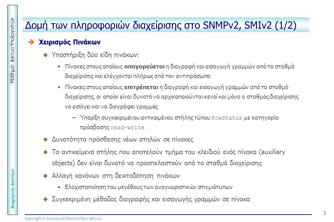 Μάθημα: Δίκτυα Υπολογιστών Διαχείριση Δικτύων Copyright  Οικονομικό Πανεπιστήμιο Αθηνών 5 Δομή των πληροφοριών διαχείρισης στο SNMPv2, SMIv2 (1/2)  Χειρισμός Πινάκων  Υποστήριξη δύο είδη πινάκων: Πίνακες στους οποίους απαγορεύεται η διαγραφή και εισαγωγή γραμμών από το σταθμό διαχείρισης και ελέγχονται πλήρως από τον αντιπρόσωπο Πίνακες στους οποίους επιτρέπεται η διαγραφή και εισαγωγή γραμμών από το σταθμό διαχείρισης, οι οποίοι είναι δυνατό να αρχικοποιούνται κενοί και μόνο ο σταθμός διαχείρισης να εισάγει και να διαγράφει γραμμές –Ύπαρξη συγκεκριμένου αντικειμένου στήλης τύπου RowStatus με κατηγορία πρόσβασης read-write  Δυνατότητα πρόσθεσης νέων στηλών σε πίνακες  Τα αντικείμενα στήλης που αποτελούν τμήμα του κλειδιού ενός πίνακα (auxiliary objects) δεν είναι δυνατό να προσπελαστούν από το σταθμό διαχείρισης  Αλλαγή κανόνων στη δεικτοδότηση πινάκων Ελαχιστοποίηση του μεγέθους των αναγνωριστικών στιγμιότυπων  Συγκεκριμένη μέθοδος διαγραφής και εισαγωγής γραμμών σε πίνακα