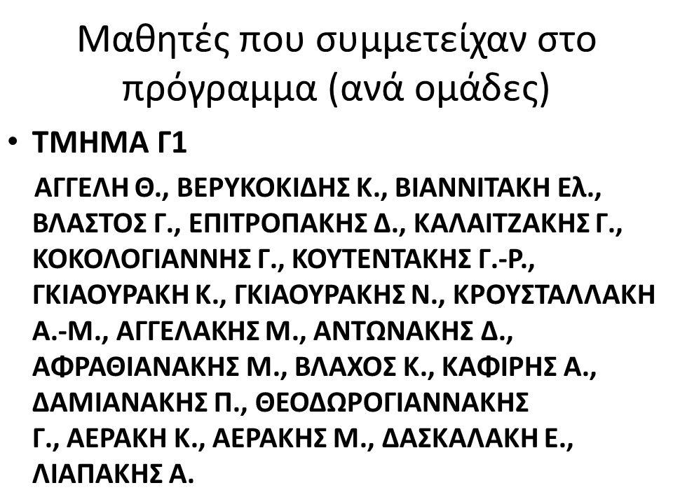 ΤΜΗΜΑ Γ3 ΛΑΜΠΡΑΚΗ Μ., ΛΑΜΠΡΑΚΗΣ Γ., ΛΑΜΠΡΑΚΗΣ Κ., ΛΑΜΠΡΑΚΗΣ Μ., ΠΑΠΑΔΑΚΗΣ Χ., ΠΕΡΡΑΚΗΣ Γ., ΠΗΓΑΚΗ Ε., ΡΑΣΙΔΑΚΗ Μ., ΦΙΛΙΠΠΙΔΗ Μ., ΤΑΧΤΣΙΔΟΥ Α., ΜΠΑΝΑΣΑΚΗΣ Μ., ΠΑΠΟΥΤΣΙΔΑΚΗ Ρ., ΤΡΕΒΙΖΑΚΗ Α., ΠΑΣΟΥΜΑΣ Ν., ΣΑΚΑΒΕΛΗ Ο., ΠΑΠΟΥΤΣΑΚΗΣ Ν., ΣΥΝΤΙΧΑΚΗ Α.-Μ., ΨΑΘΑΚΗΣ Κ., ΣΥΣΚΑΚΗΣ Γ., ΤΣΙΚΝΑΚΗΣ Κ., ΧΡΙΣΤΟΦΑΚΗΣ Δ.