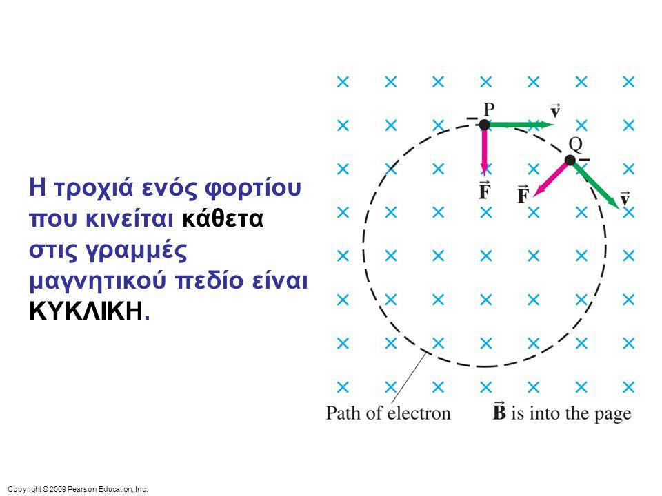Copyright © 2009 Pearson Education, Inc. Η τροχιά ενός φορτίου που κινείται κάθετα στις γραμμές μαγνητικού πεδίο είναι ΚΥΚΛΙΚΗ.
