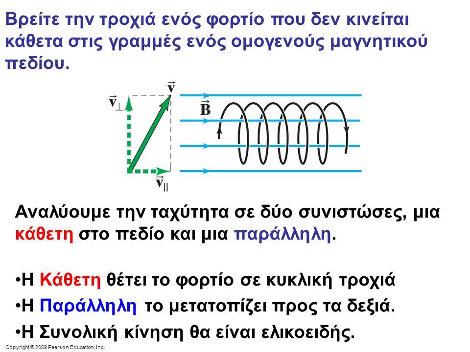 Βρείτε την τροχιά ενός φορτίο που δεν κινείται κάθετα στις γραμμές ενός ομογενούς μαγνητικού πεδίου. Αναλύουμε την ταχύτητα σε δύο συνιστώσες, μια κάθ