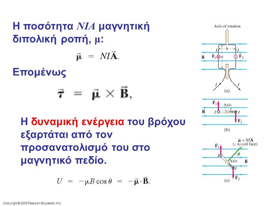 Copyright © 2009 Pearson Education, Inc. Η ποσότητα NIA μαγνητική διπολική ροπή, μ : Η δυναμική ενέργεια του βρόχου εξαρτάται από τον προσανατολισμό τ