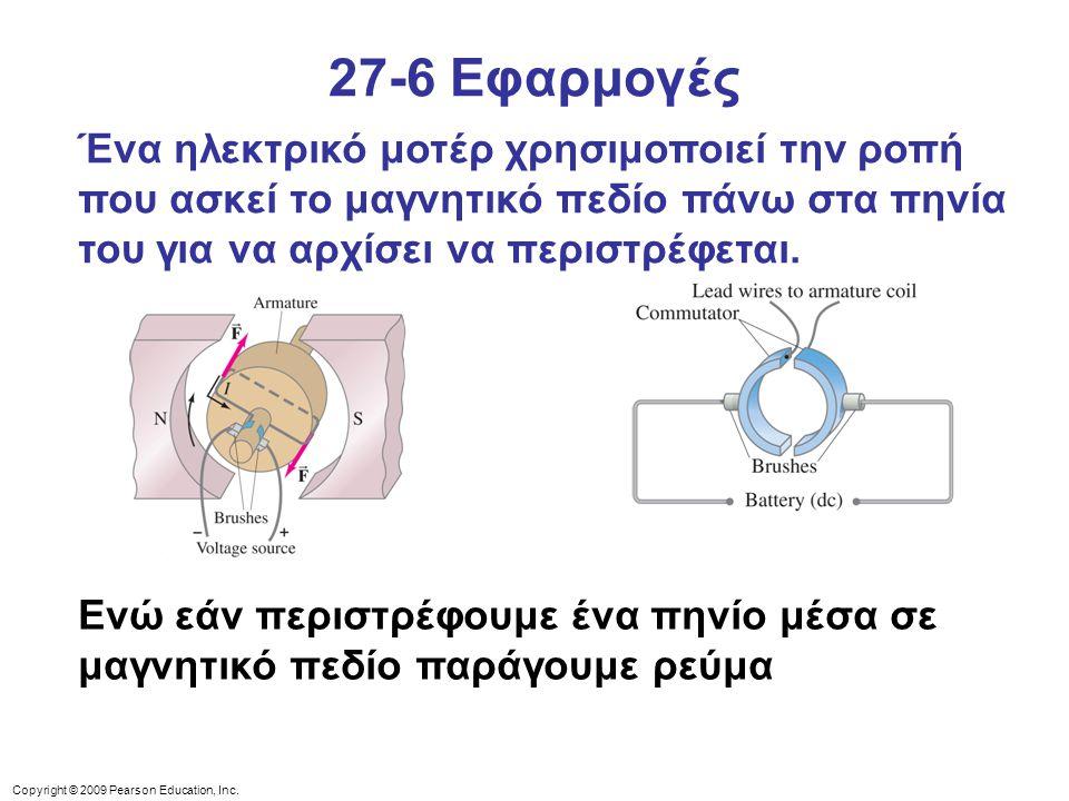 Copyright © 2009 Pearson Education, Inc. 27-6 Εφαρμογές Ένα ηλεκτρικό μοτέρ χρησιμοποιεί την ροπή που ασκεί το μαγνητικό πεδίο πάνω στα πηνία του για