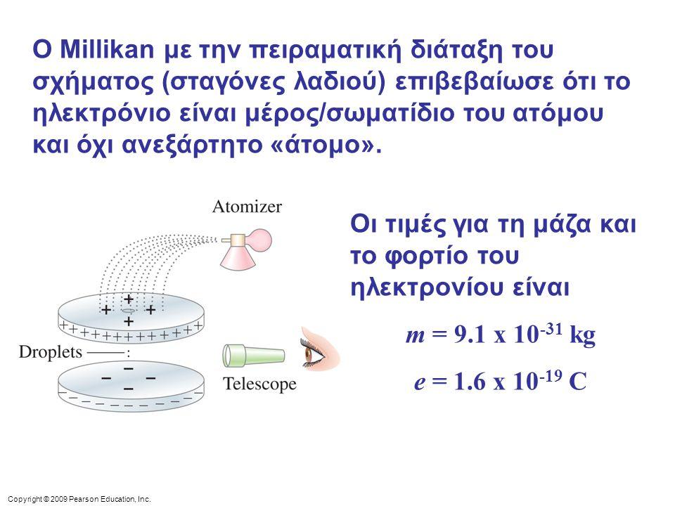 Copyright © 2009 Pearson Education, Inc. Ο Millikan με την πειραματική διάταξη του σχήματος (σταγόνες λαδιού) επιβεβαίωσε ότι το ηλεκτρόνιο είναι μέρο