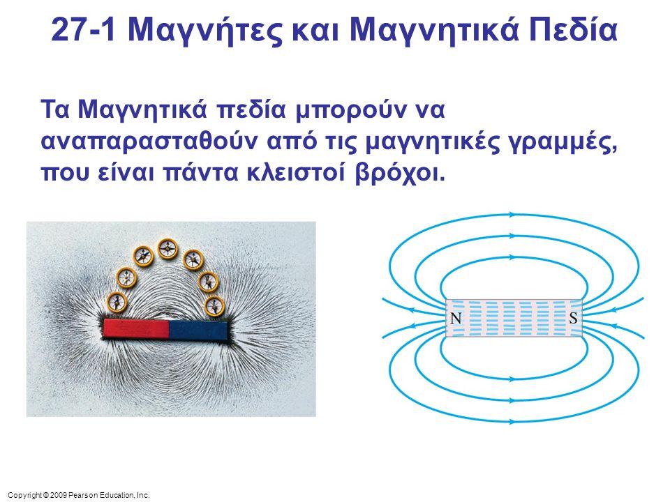 Copyright © 2009 Pearson Education, Inc. Τα Μαγνητικά πεδία μπορούν να αναπαρασταθούν από τις μαγνητικές γραμμές, που είναι πάντα κλειστοί βρόχοι. 27-