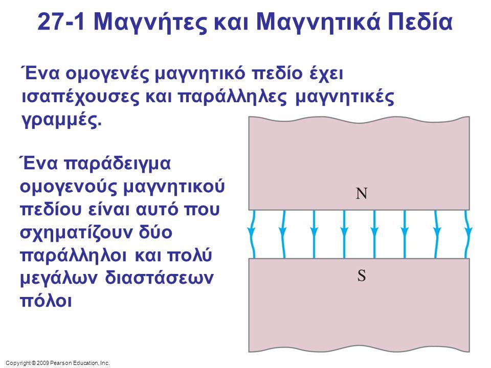 Copyright © 2009 Pearson Education, Inc. Ένα ομογενές μαγνητικό πεδίο έχει ισαπέχουσες και παράλληλες μαγνητικές γραμμές. Ένα παράδειγμα ομογενούς μαγ