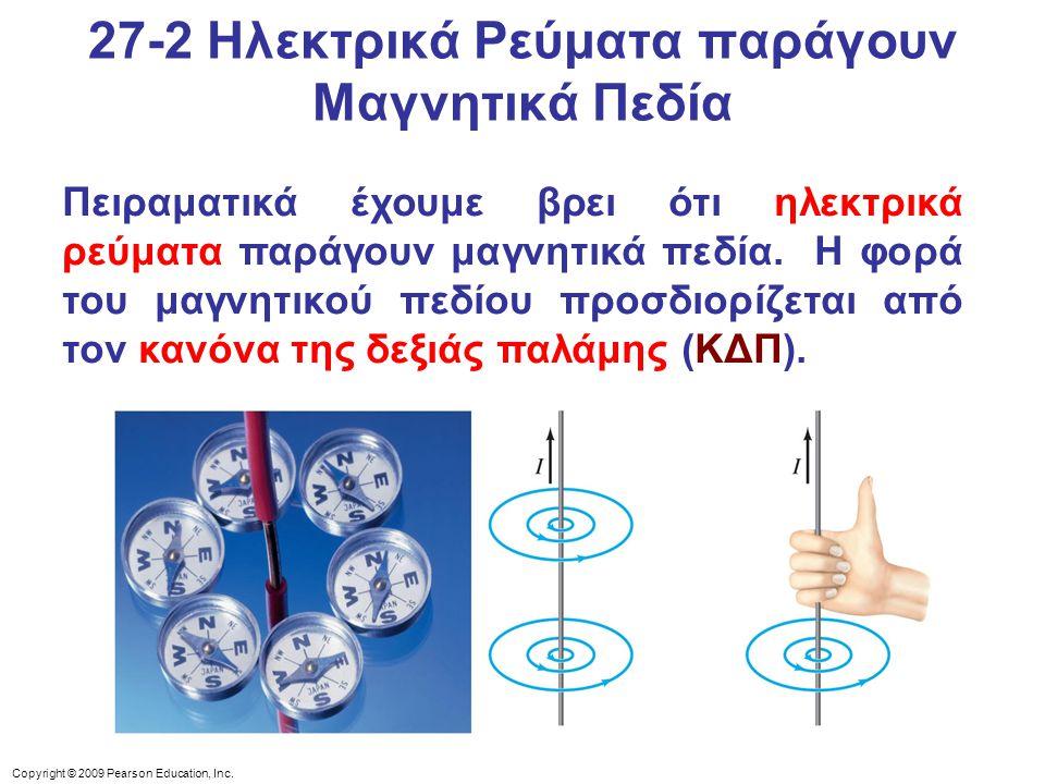 Copyright © 2009 Pearson Education, Inc. Πειραματικά έχουμε βρει ότι ηλεκτρικά ρεύματα παράγουν μαγνητικά πεδία. Η φορά του μαγνητικού πεδίου προσδιορ