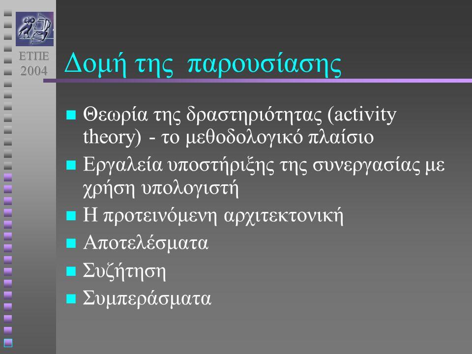 Δομή της παρουσίασης Θεωρία της δραστηριότητας (activity theory) - το μεθοδολογικό πλαίσιο Εργαλεία υποστήριξης της συνεργασίας με χρήση υπολογιστή Η προτεινόμενη αρχιτεκτονική Αποτελέσματα Συζήτηση Συμπεράσματα