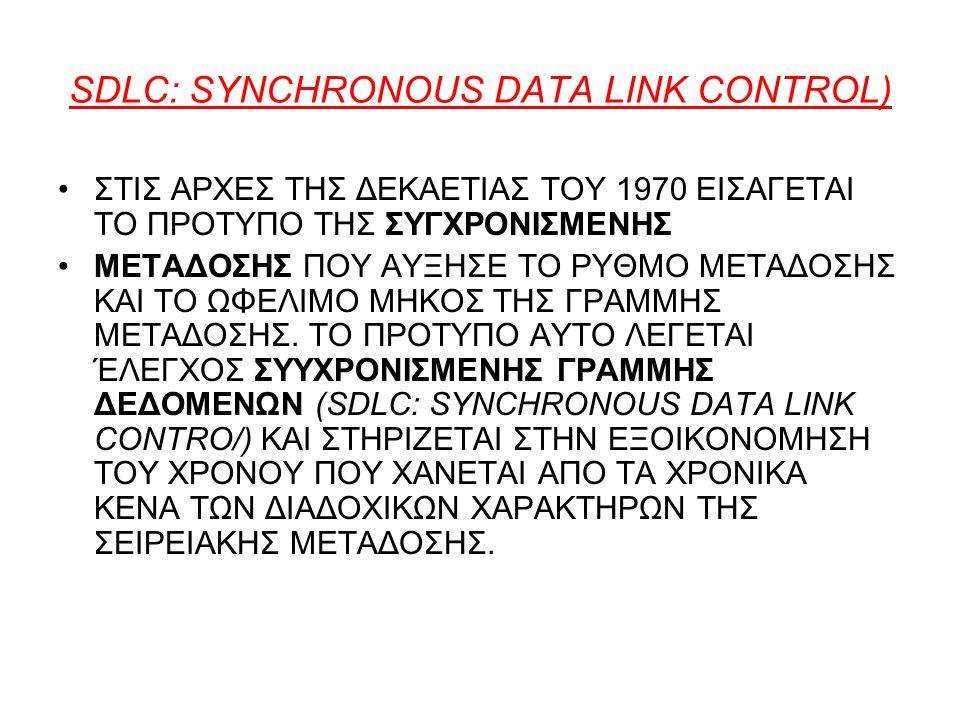 SDLC: SYNCHRONOUS DATA LΙNK CONTROL) ΣΤΙΣ ΑΡΧΕΣ ΤΗΣ ΔΕΚΑΕΤΙΑΣ ΤΟΥ 1970 ΕΙΣΑΓΕΤΑΙ ΤΟ ΠΡΟΤΥΠΟ ΤΗΣ ΣΥΓΧΡΟΝΙΣΜΕΝΗΣ ΜΕΤΑΔΟΣΗΣ ΠΟΥ ΑΥΞΗΣΕ ΤΟ ΡΥΘΜΟ ΜΕΤΑΔΟΣΗΣ ΚΑΙ ΤΟ ΩΦΕΛΙΜΟ ΜΗΚΟΣ ΤΗΣ ΓΡΑΜΜΗΣ ΜΕΤΑΔΟΣΗΣ.