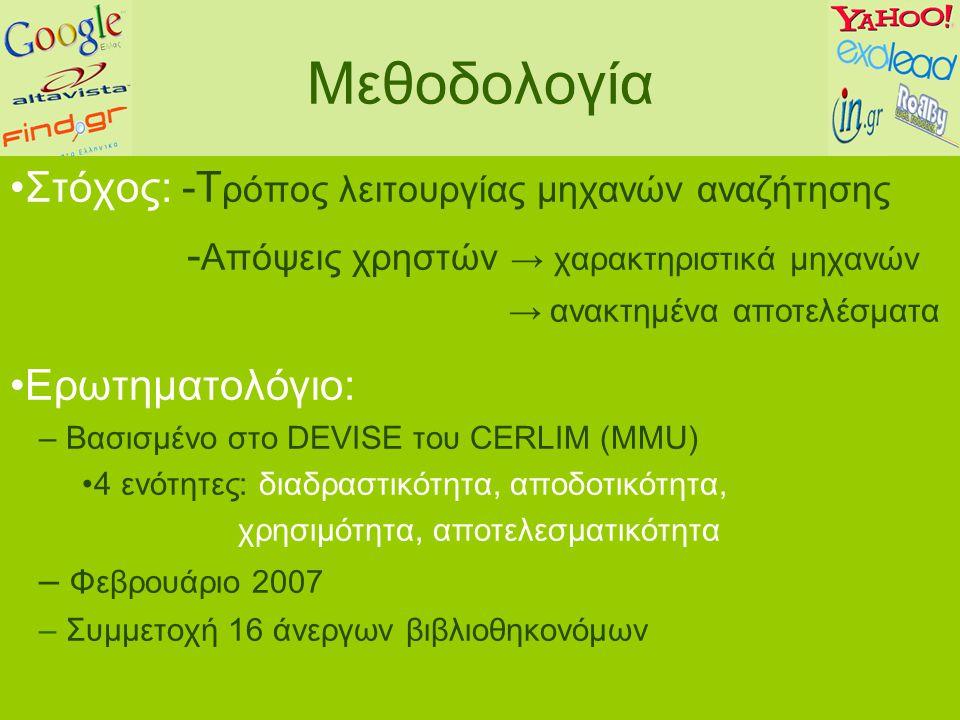 Μεθοδολογία Στόχος: -Τ ρόπος λειτουργίας μηχανών αναζήτησης - Απόψεις χρηστών → χαρακτηριστικά μηχανών → ανακτημένα αποτελέσματα Ερωτηματολόγιο: – Βασισμένο στο DEVISE του CERLIM (ΜΜU) 4 ενότητες: διαδραστικότητα, αποδοτικότητα, χρησιμότητα, αποτελεσματικότητα – Φεβρουάριο 2007 – Συμμετοχή 16 άνεργων βιβλιοθηκονόμων