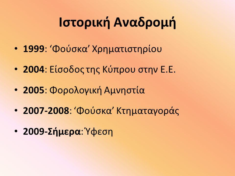 Ιστορική Αναδρομή 1999: 'Φούσκα' Χρηματιστηρίου 2004: Είσοδος της Κύπρου στην Ε.Ε. 2005: Φορολογική Αμνηστία 2007-2008: 'Φούσκα' Κτηματαγοράς 2009-Σήμ