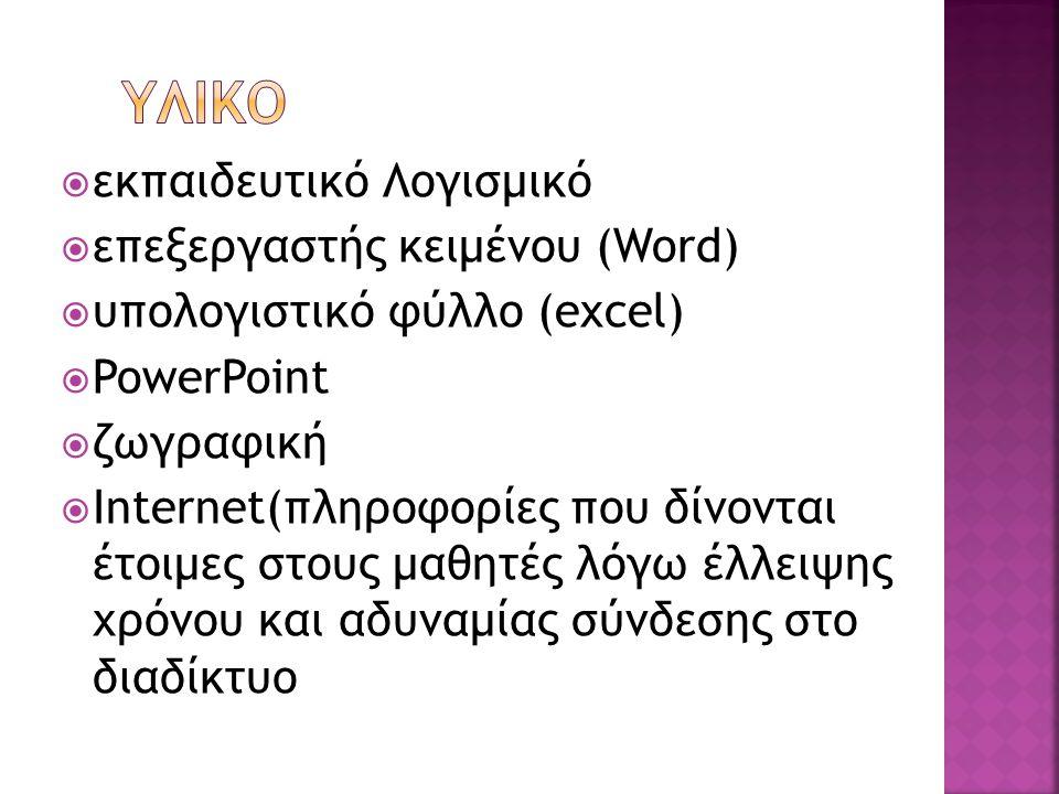  εκπαιδευτικό Λογισμικό  επεξεργαστής κειμένου (Word)  υπολογιστικό φύλλο (excel)  PowerPoint  ζωγραφική  Internet(πληροφορίες που δίνονται έτοιμες στους μαθητές λόγω έλλειψης χρόνου και αδυναμίας σύνδεσης στο διαδίκτυο