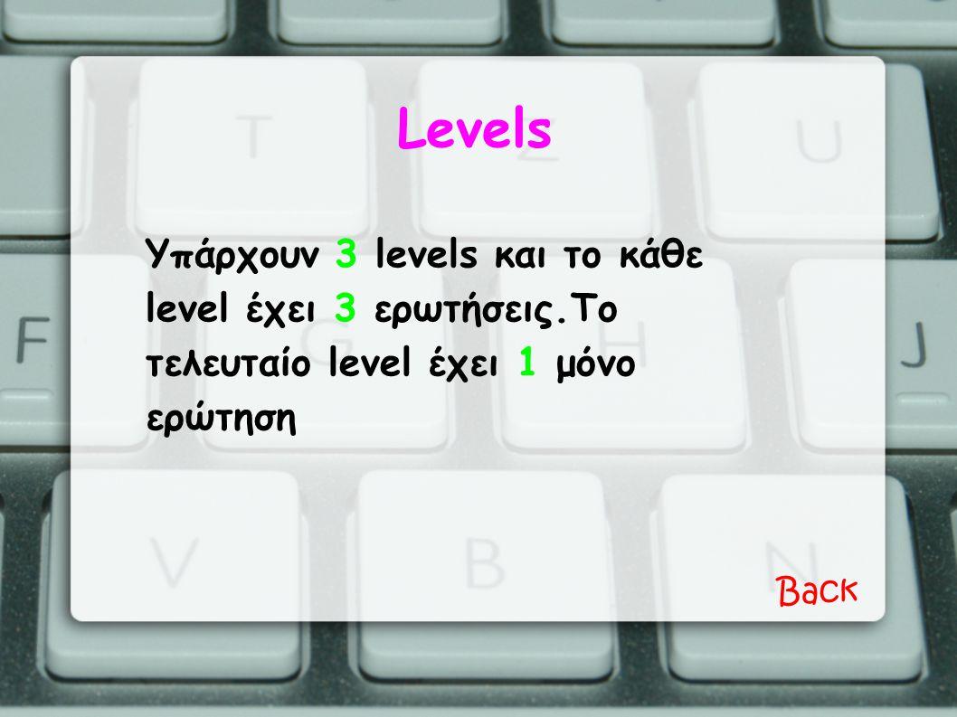 Levels Υπάρχουν 3 levels και το κάθε level έχει 3 ερωτήσεις.Το τελευταίο level έχει 1 μόνο ερώτηση Back